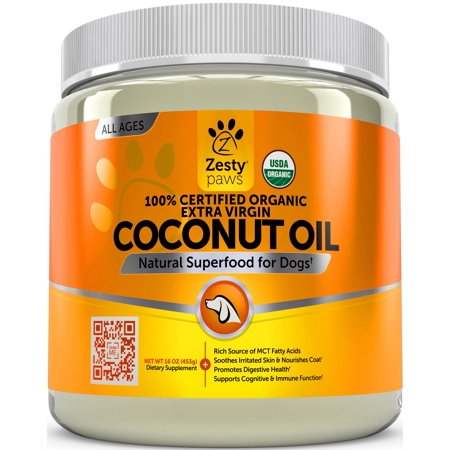Zesty Paws Certified Organic Coconut Oil for Dogs for Anti Itch & Skin Hot Spots, 16 Oz Dog Hot Spot Treatment