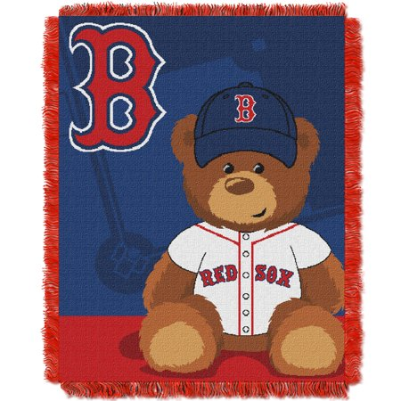 Red Sox OFFICIAL Major League Baseball, Field Bear Baby 36x 46 Triple Woven Jacquard Throw  by The Northwest Company