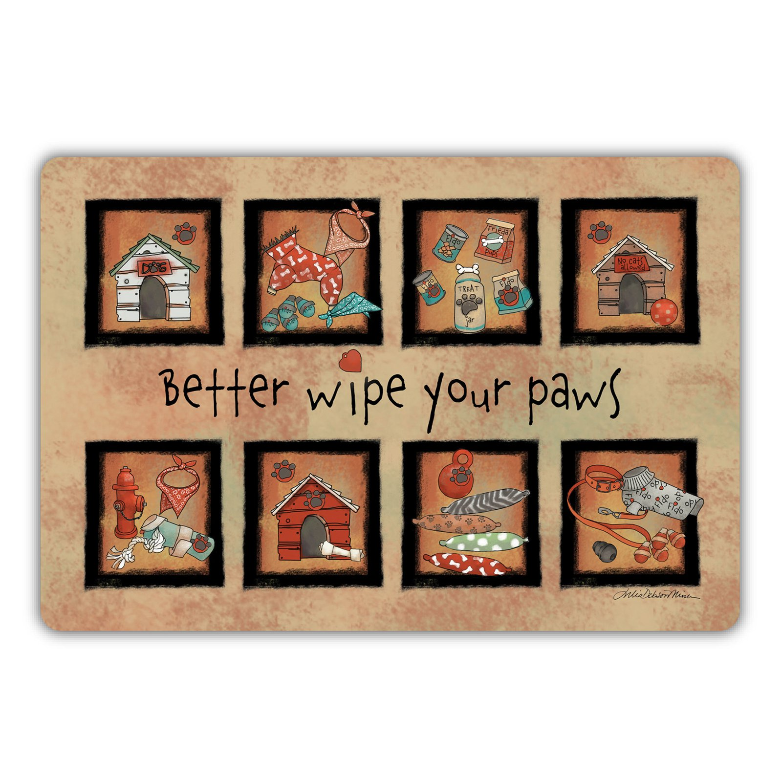 Drymate Dog Collection Welcome Mat - Bow Wow Squares