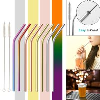 4/8 PCS Curved Straws Reusable Rainbow Premium Stainless Steel Metal Drinking Straw Straws w/ 1/2 PCS Cleaning Brush - Eco Friendly, SAFE, NON-TOXIC Non-plastic For Smoothie Drink