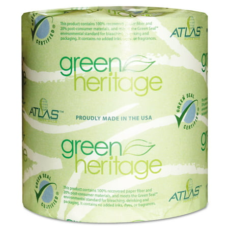 Atlas Paper Mills Green Heritage Toilet Tissue, 4 x 3 Sheets, 2 Ply, 500/Roll, 96