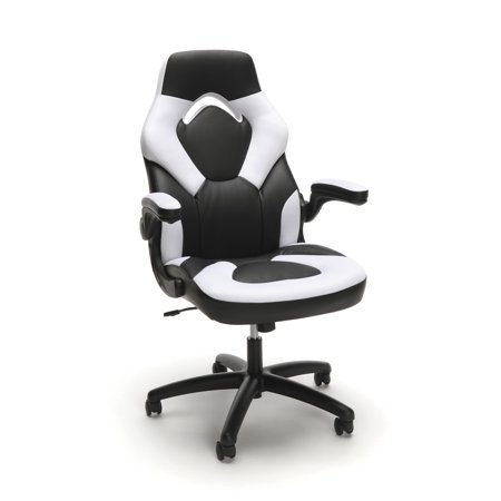 White Leatherette Office Chair (OFM Essentials Collection Racing Style Bonded Leather Gaming Chair, in White (ESS-3085-WHT) )