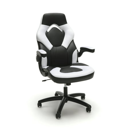 OFM Essentials Collection Racing Style Bonded Leather Gaming Chair, in White (Best Computer Chair For Long Hours)