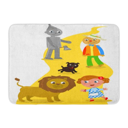 GODPOK Characters Yellow Brick The Wizard of Oz Dorothy with Her Dog Scarecrow and Tin Man Meets Lion Road Child Rug Doormat Bath Mat 23.6x15.7 inch](Dorothy Wizard Of Oz Dog)