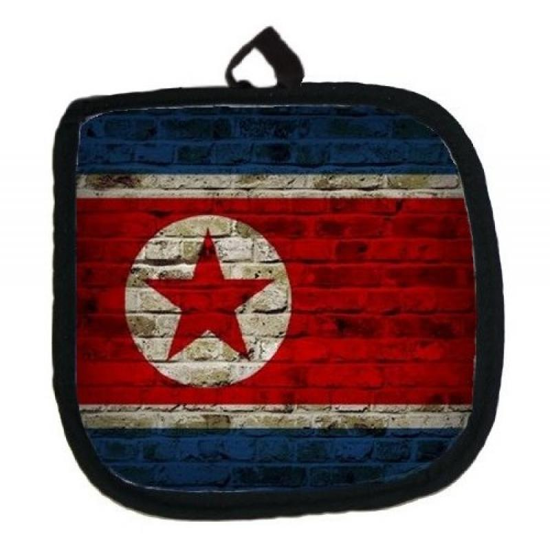 North Korea Flag Brick Wall Design Kitchen Pot Holder