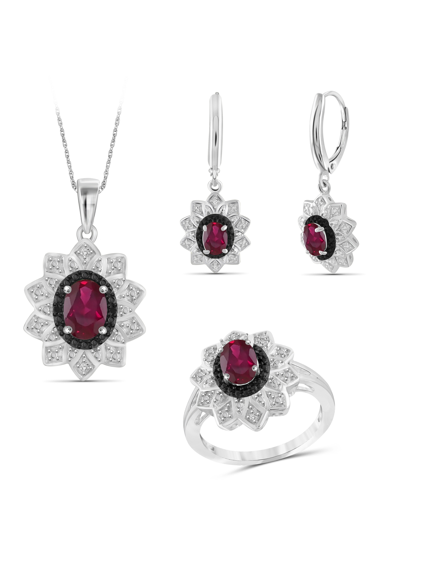 2 3/4 Carat T.G.W. Ruby And Black & White Diamond Accent Sterling Silver 3-Piece Jewelry set