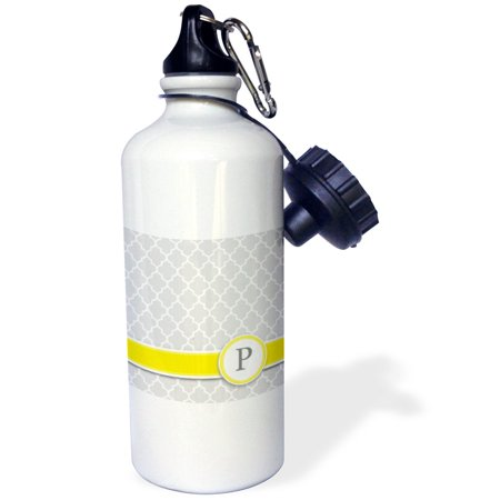 3dRose Your personal name initial letter P - monogrammed grey quatrefoil pattern - personalized yellow gray, Sports Water Bottle, 21oz](Yellow Water Bottle)