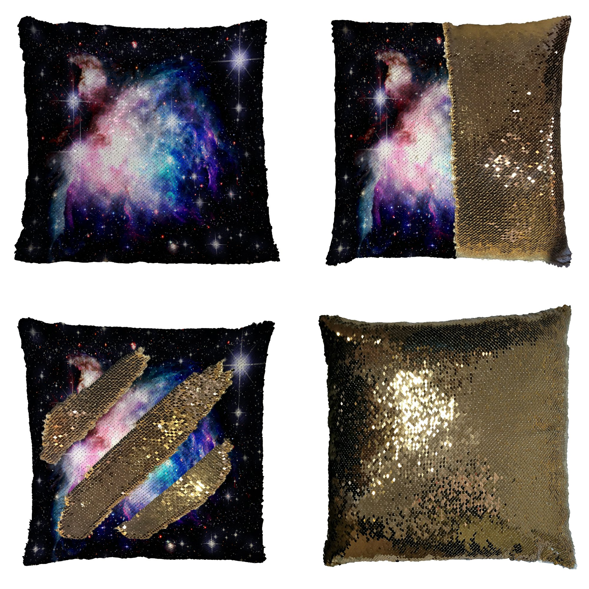 GCKG Universe Pillowcase, Deep Space Nebula with Stars Purple Bule Pink Reversible Mermaid Sequin Pillow Case Home Decor Cushion Cover 16x16 inches