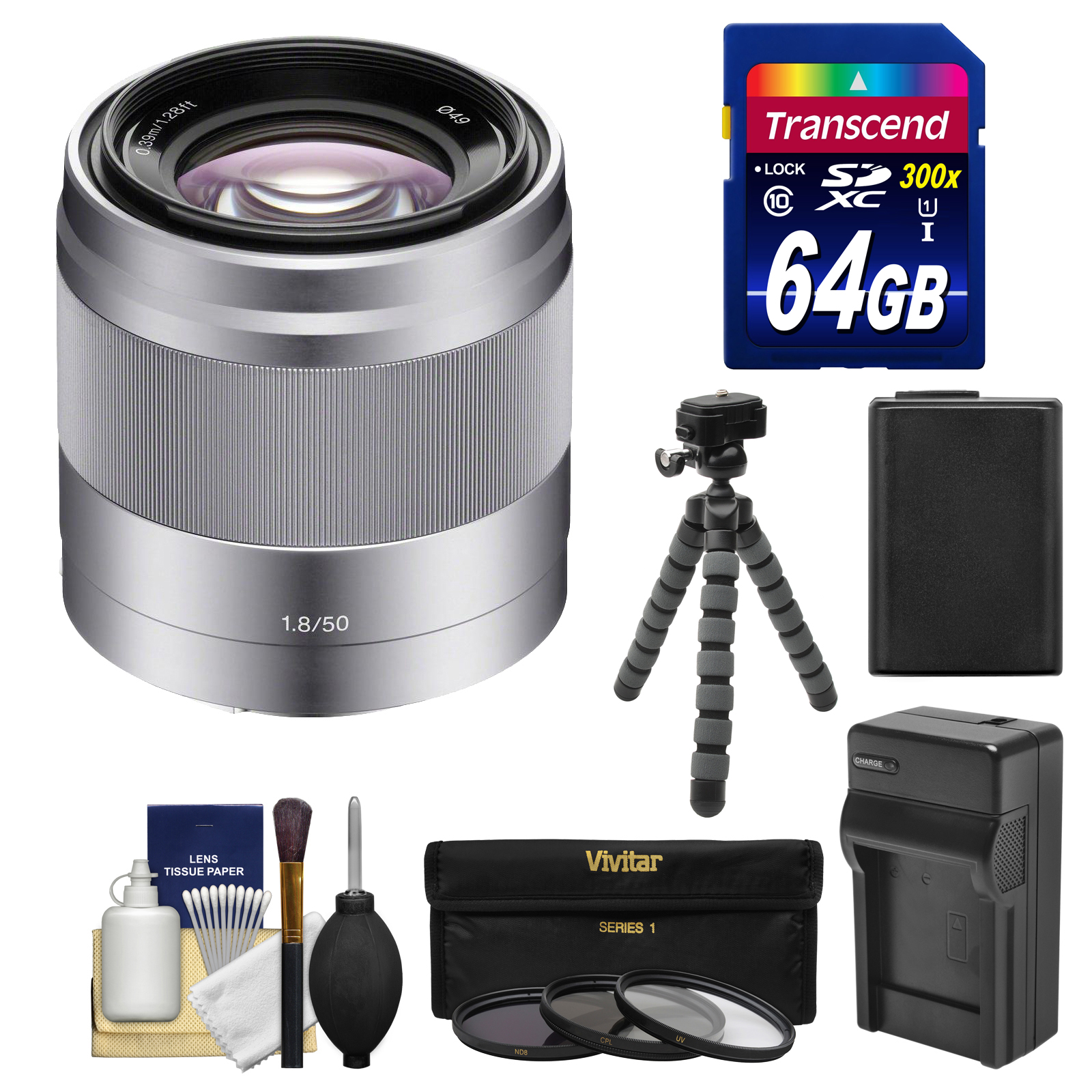 Sony Alpha NEX E-Mount 50mm f/1.8 OSS Lens (Silver) with 64GB Card + NP-FW50 Battery/Charger + Tripod + Filter Kit for A