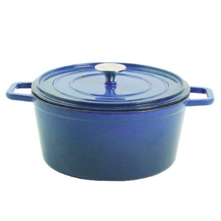 crock pot elmington enamel cast iron 5 qt dutch oven with lid blue. Black Bedroom Furniture Sets. Home Design Ideas
