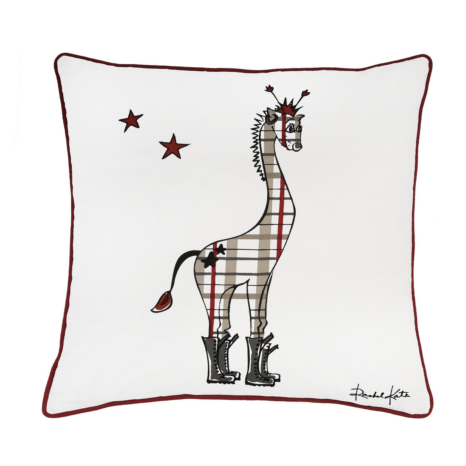 "Rachel Kate By Rizzy Home Decorative Poly Filled Throw Pillow Girafee 18""X18"" Red"