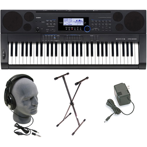 Casio CTK-6000 61-Key Portable Keyboard Pack with Headphones, Stand and Power Supply