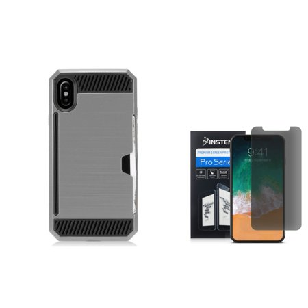 Insten Hard Hybrid Brushed TPU Cover Case w/card slot For Apple iPhone X - Gray/Black (Bundle with Screen Privacy Filter)