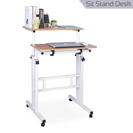 Qwork Wheel Mobile Stand up Computer Desk Height Adjustable Cart Tilting Table With Dual Surface Sit-stand Desk Home Office Computer Workstation Ergonomic Desk, Ancient Oak