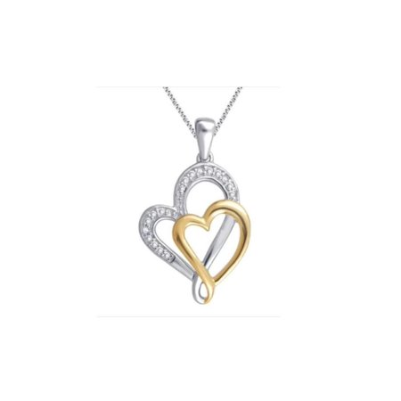 Elegant 0.03 Carat Two Tone Double Heart Diamond Necklace In 14K White Gold Plated
