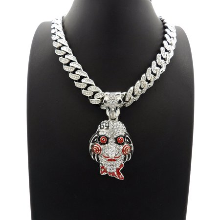 Hip Hop Out Iced 6ix9ine Jigsaw Pendant with 20