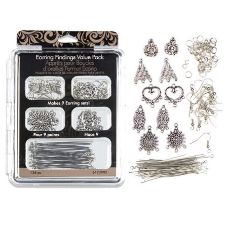 Earring Findings Value Pack, Silver, 140pc