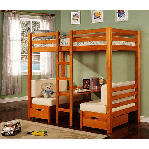 LIQUIDATE: Twin Over Table Convertible Bunk Bed, Maple Box1 Amazing Design