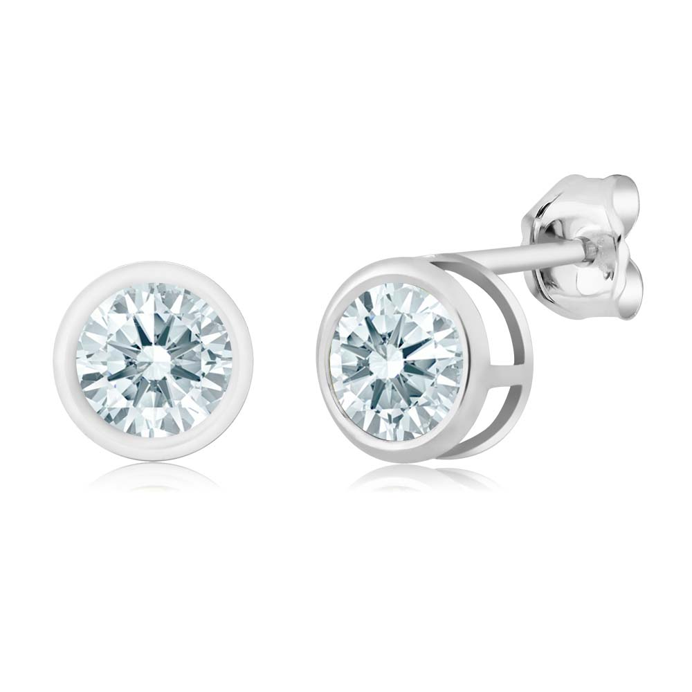 0.92 Ct White 925 Sterling Silver Earrings Made With Swarovski Zirconia