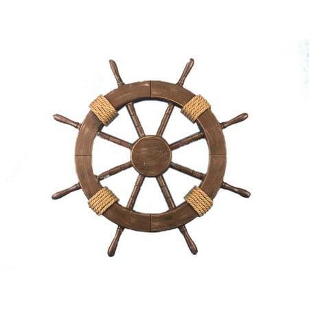Rustic Wood Finish Ship Wheel 18