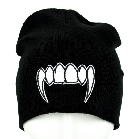 Vampire Teeth Caps (Vampire Fangs Beanie Monster Teeth Knit)