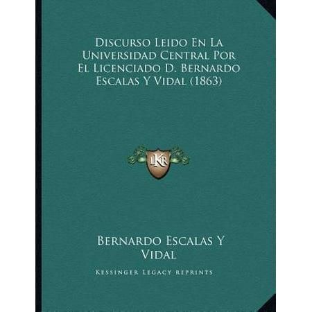 Vidal Collection (Discurso Leido En La Universidad Central Por El Licenciado D. Bernardo Escalas y Vidal (1863) )