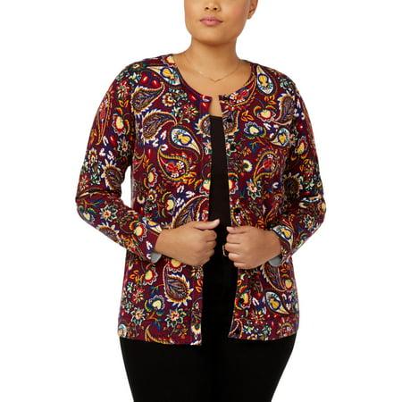 August Silk Womens Plus Stretch Animal Print Cardigan Sweater Multi 3X Animal Print Crop Cardigan