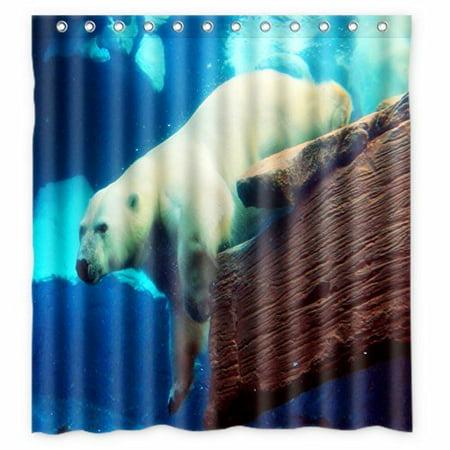 Hellodecor Polar Bear Shower Curtain Polyester Fabric