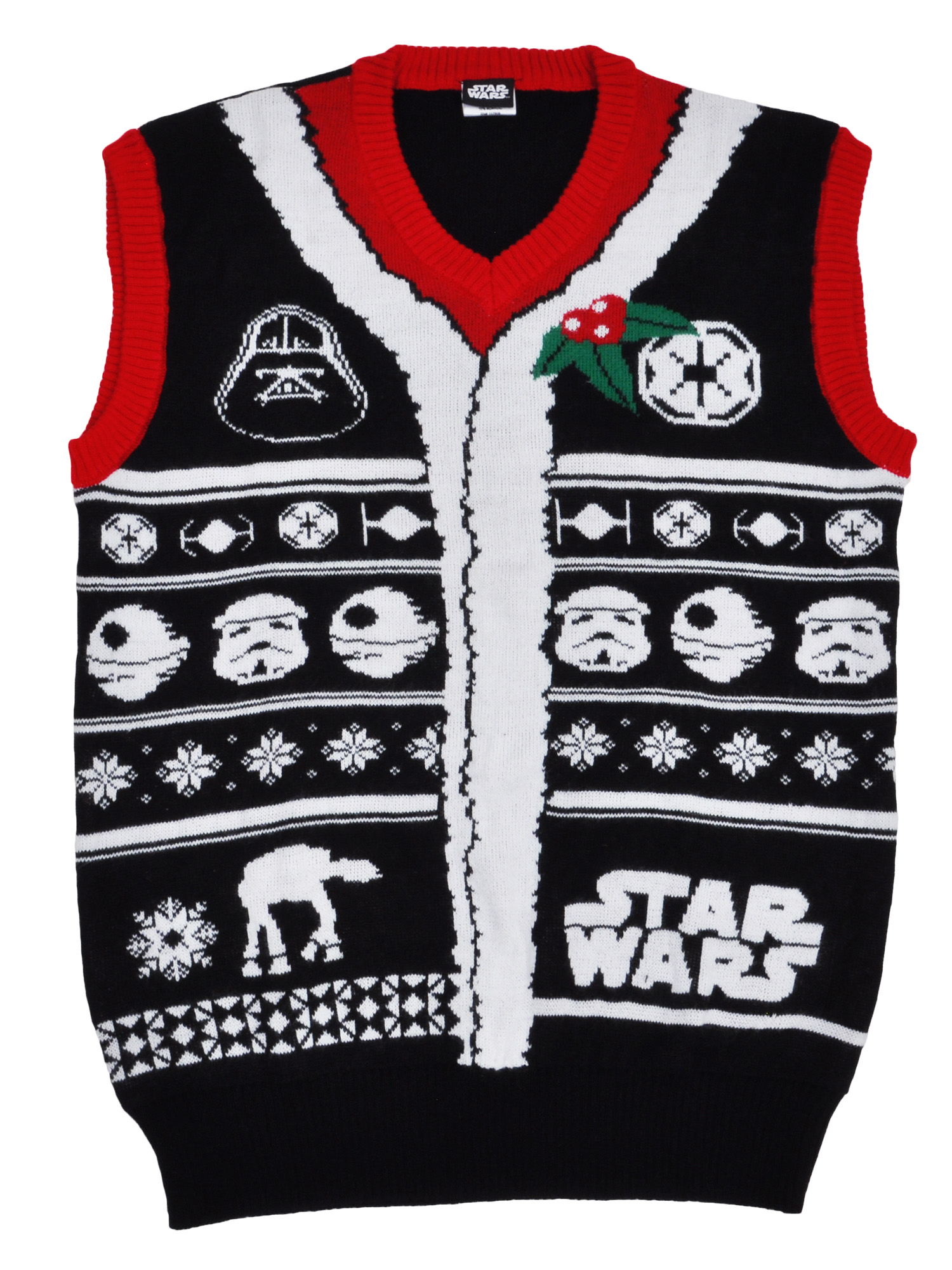Mens Star Wars Knitted Ugly Christmas Sweater Vest Black