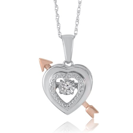 10K White Gold Heart And Arrow Dancing Diamond Pendant (0.05 Cttw, G-H Colour, I2-I3 Clarity) - image 2 de 2