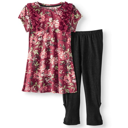 Floral Outfit Girl - Floral Ruffle Tunic & Knit Denim Legging, 2-Piece Outfit Set (Little Girls & Big Girls)
