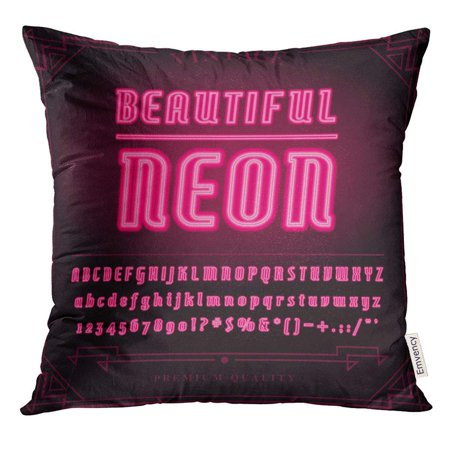 EREHome Pink Broadway Bright Neon Alphabet Letters Numbers and Symbols Sign in Night Show Cabaret Pillow Case 16x16 Inches Pillowcase - image 1 de 1