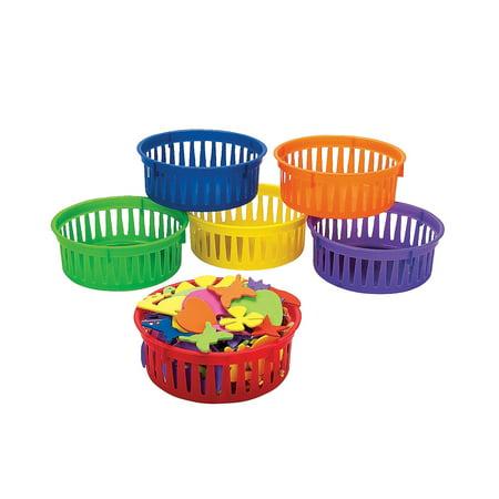 Fun Express - Classroom Small Round Storage Basket - Educational - Educational Furniture - Storage - 6 Pieces Furniture Storage Baskets