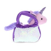 DolliBu Purple Unicorn Plush Reversible Sequin Pet Carrier Handbag, White Sparkle Soft Stuffed Animal Carrier Toy Purse for Little Girls, Cute Toddler Girl's Pretend Play Unicorn Pet Doll Purse 9 Inch