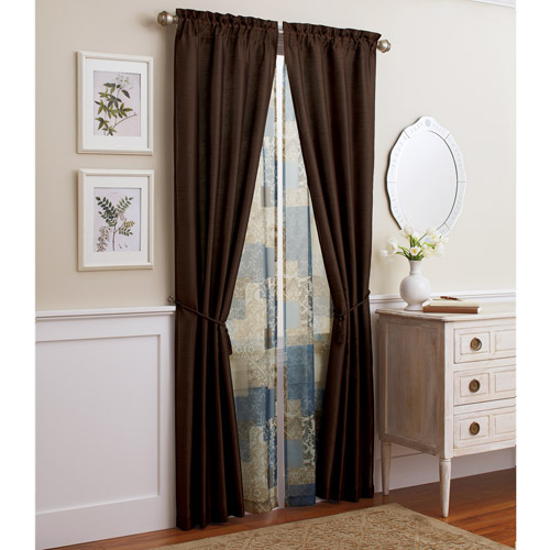 Better Homes and Gardens 6pc Window Set in Faux Silk with Block-Printed Sheer