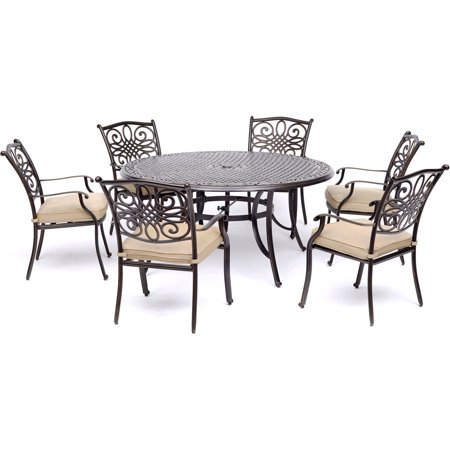 Hanover Traditions 7-Piece Outdoor Dining Set with Round Cast-Top Table and 6 Stationary Chairs ()