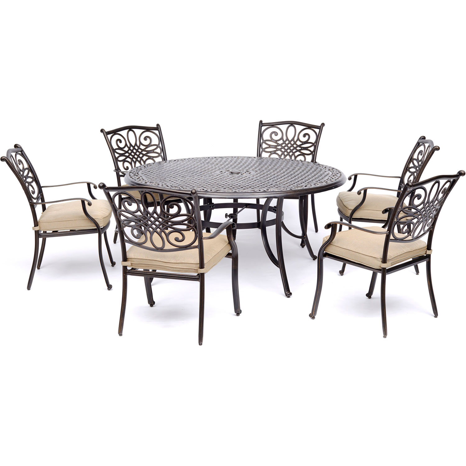 Hanover Traditions 7-Piece Outdoor Dining Set with Round Cast-Top Table and 6 Stationary Chairs