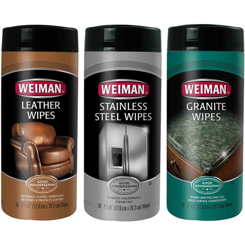 Weiman Stainless Steel, Leather & Granite Wipes Care Set, 3 pc
