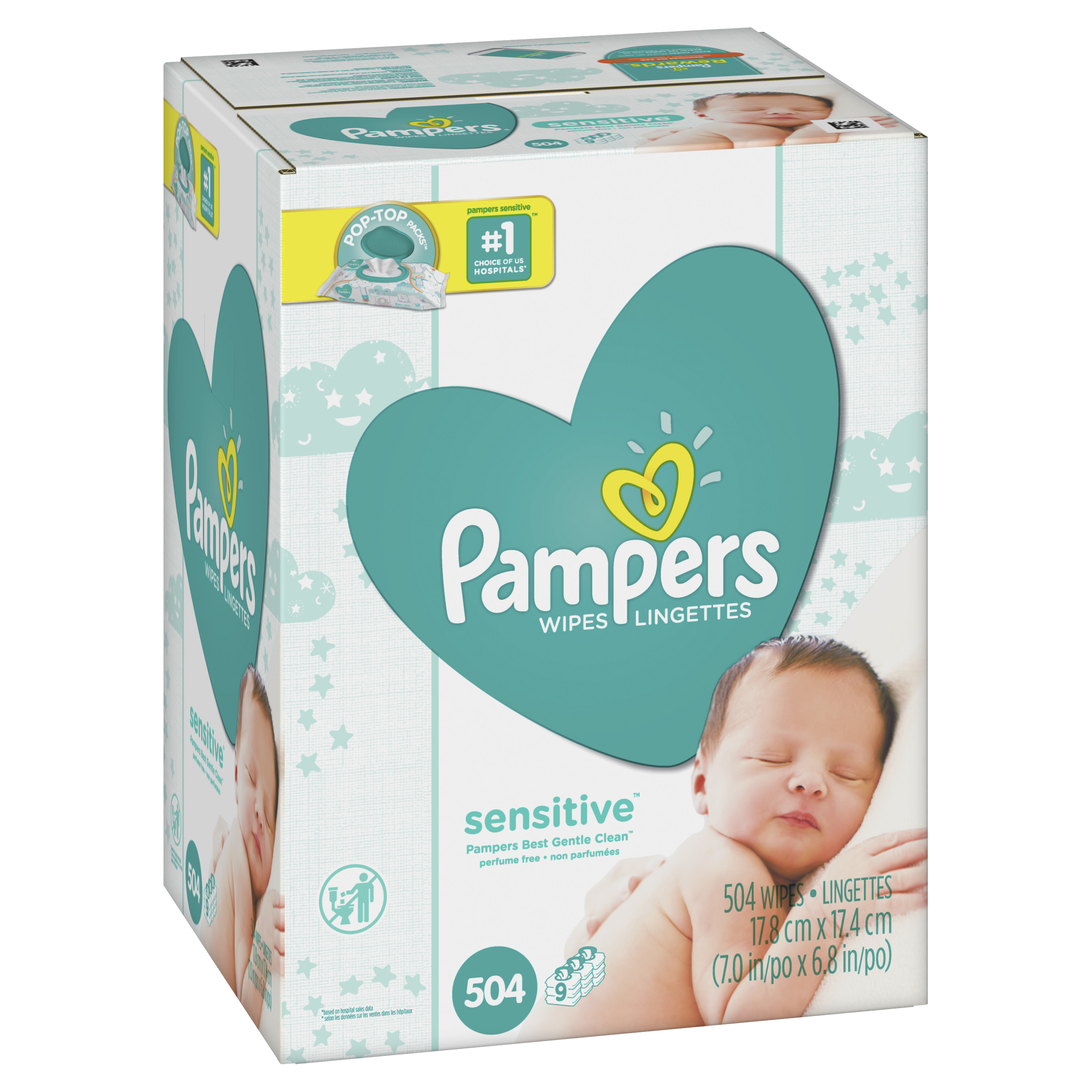 Pampers Baby Wipes, Sensitive, 9X Pop-Top Packs, 504 Count