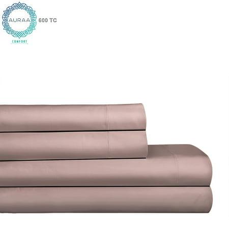 Auraa Comfort 600 TC 100% Pima Cotton 4 Pc King Sheet Set