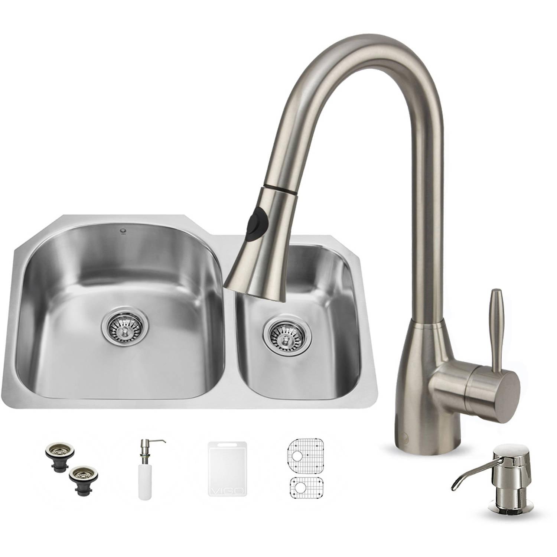 Vigo Undermount Stainless Steel Kitchen Sink, Faucet, 2 Grids, 2 Strainers and Dispenser