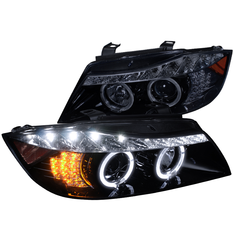 Spec-D Tuning 2006-2008 Bmw E90 3-Series Halo Led Projector Headlights 06 07 08 (Left + Right)