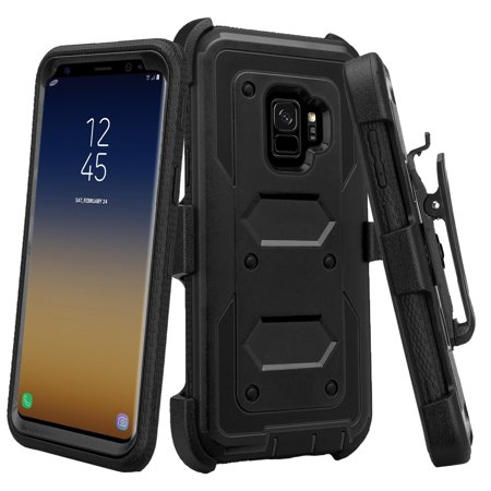 For Samsung Galaxy S9 Plus Case, S9+, SM-G960U Case, Rugged Rotating Swivel  Belt Clip Holster Shell Combo Cover w/ Tempered Glass Screen Protector -