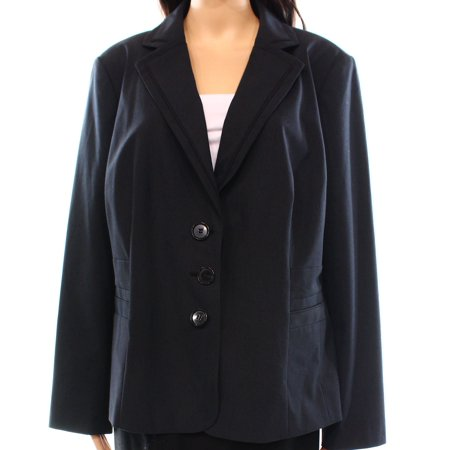 Sejour Nordstrom New Black Womens Size 16W Plus Notched Collar Jacket