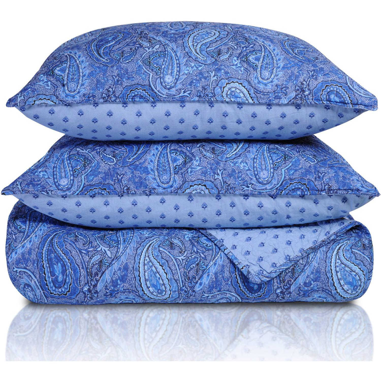 Superior Moroccan Paisley Cotton Reversible Quilt Set