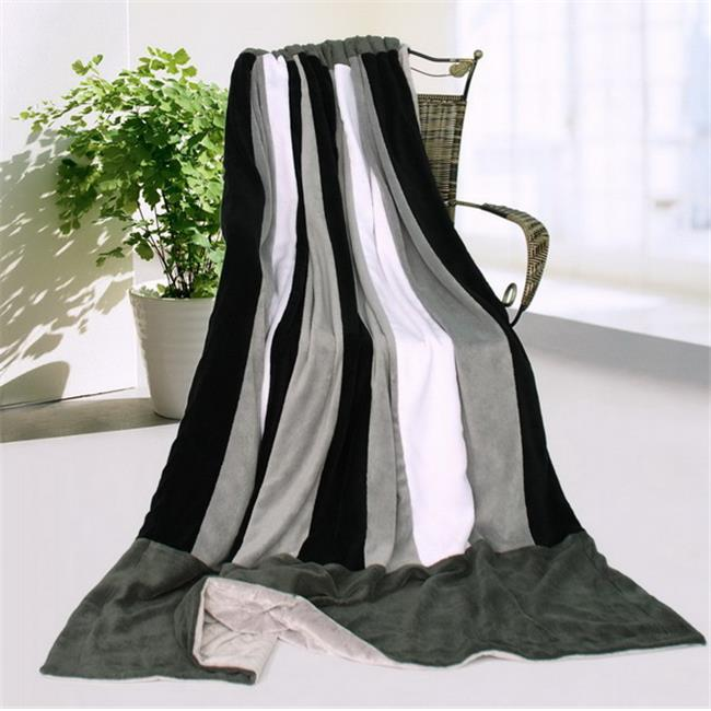 ONITIVA-BLK-071 Onitiva - Dove Gray Soft Coral Fleece Patchwork Throw Blanket
