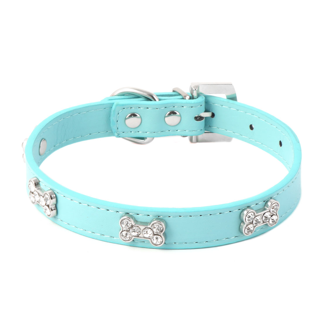 Pet Metal Buckle Faux Leather Artificial Rhinestone Bone Decor Dog Collar Size M