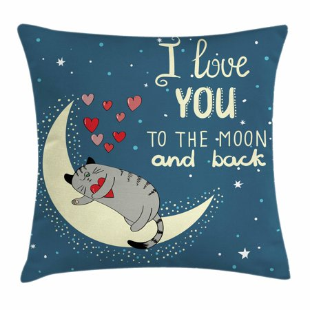 I Love You Throw Pillow Cushion Cover  Sleepy Cat Holding Hearts Over The Moon At Night Sky Kitty Caricature  Decorative Square Accent Pillow Case  20 X 20 Inches  Slate Blue Grey Ivory  By Ambesonne