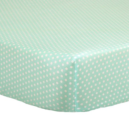 the peanut shell baby crib fitted sheet white confetti dots on mint green 100 cotton sateen. Black Bedroom Furniture Sets. Home Design Ideas