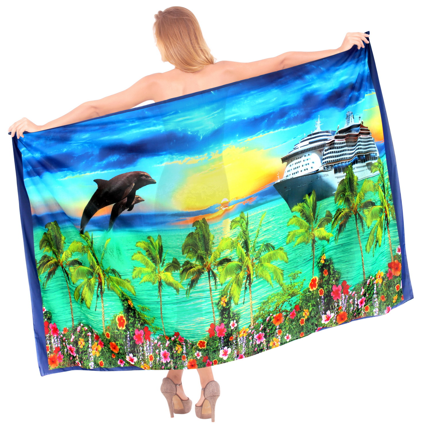 Ladies Lightweight Chiffon Swimsuit DESIGNER Beach View Wrap Cruise Sarong Blue